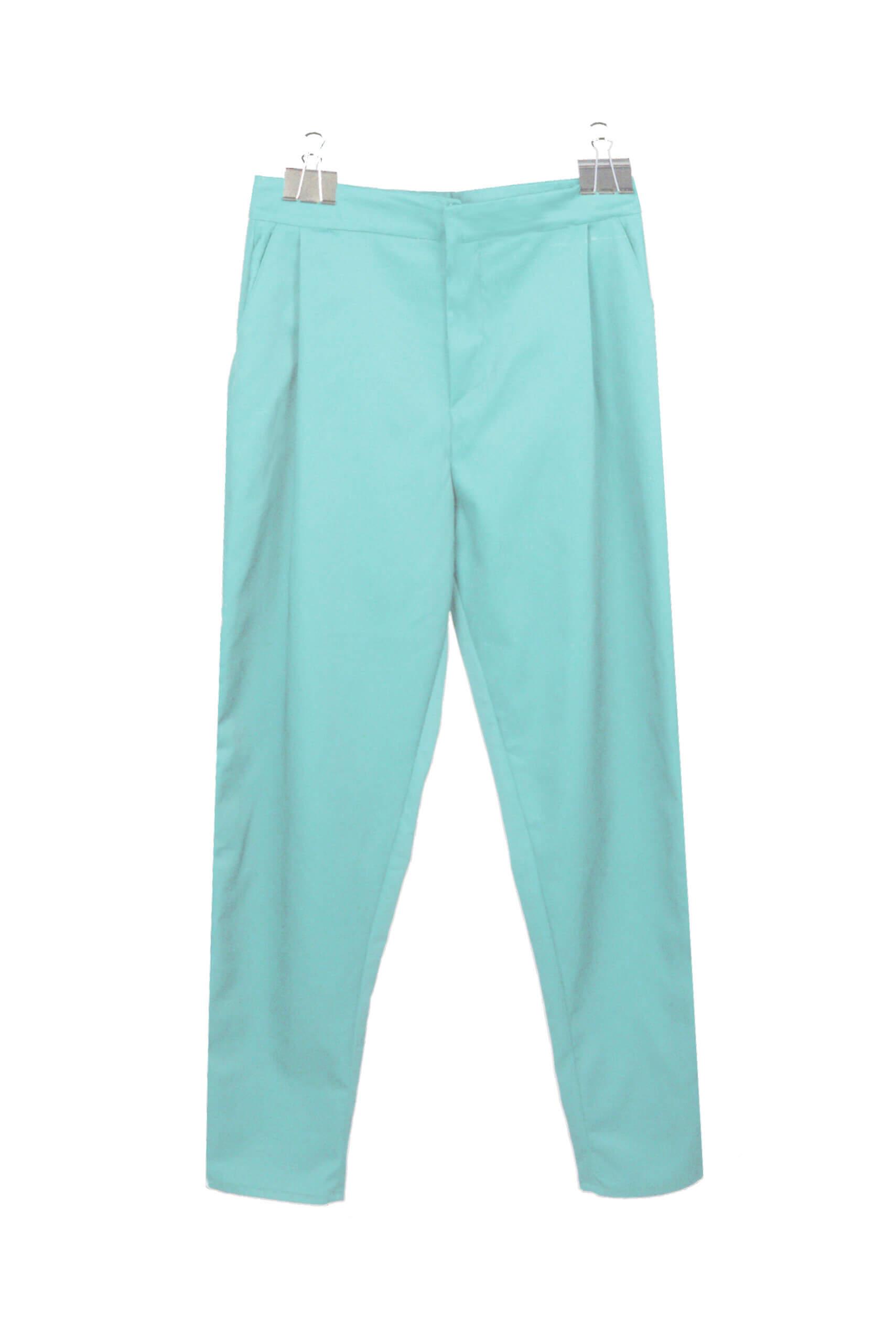 front pleaded pants blue