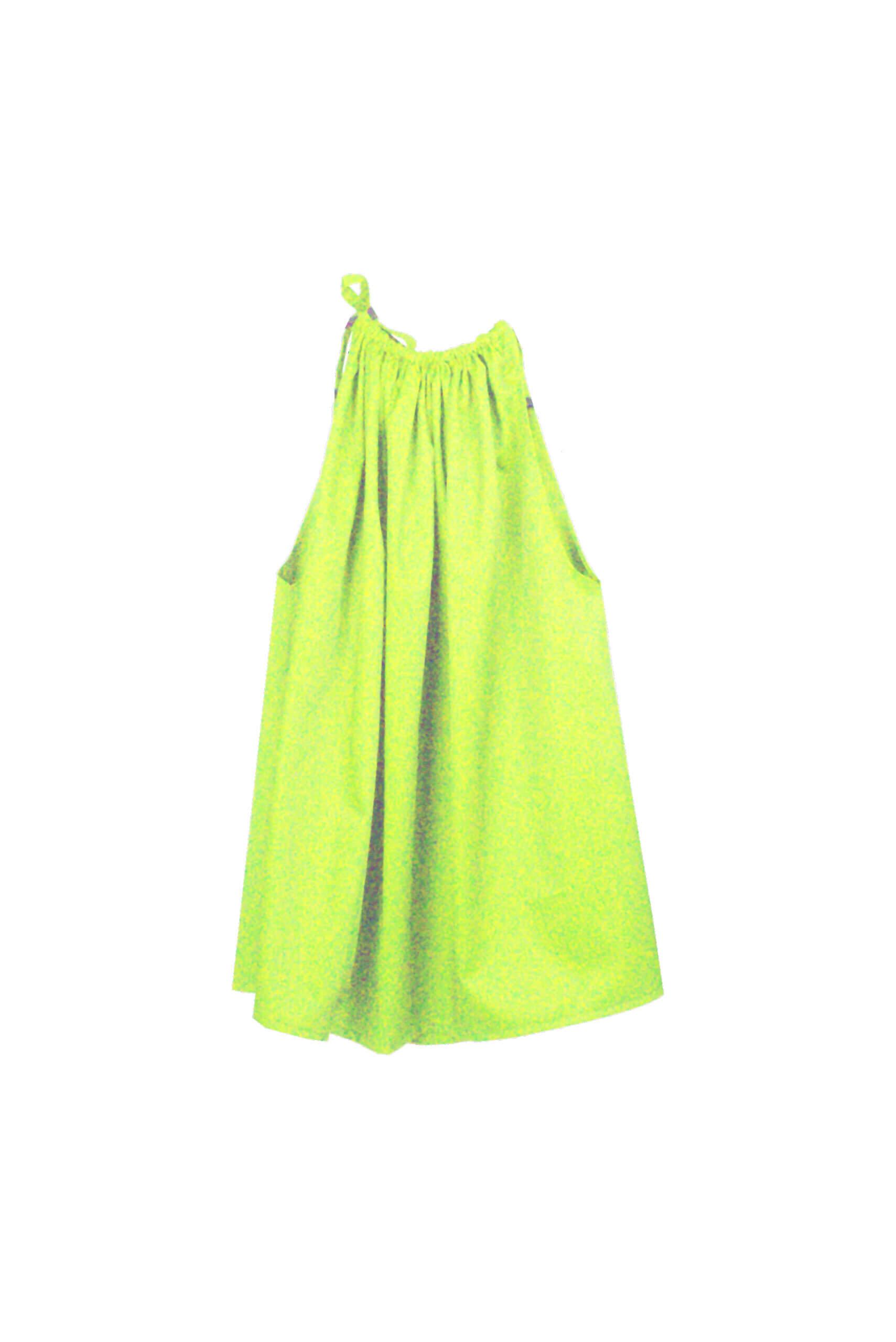 front wrinkle dress green